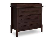 Serta Mid Century Modern 3 Drawer Dresser with Changing Top, Walnut Espresso