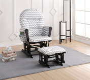 Naomi Home Brisbane Glider & Ottoman Set with Cushion in Grey Chevron and Finish in Black