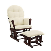 Windsor Glider and Ottoman Espresso Finish and Beige Cushions