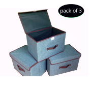Storage Bins (3-Pack) Foldable Storage Box with Lids and Handles Storage Basket Storage Containers Organiser With Built-in Cotton Fabric Closet Drawer Removable Dividers
