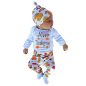 Keepfit Newborn Infant Baby Girl Thanksgiving Outfit Letter Romper Tops+Pants+Hat Clothing Set