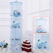 IDS Hanging Mesh Space Saver Bags Organiser 4 Compartments, Mesh Hanging Storage Organiser Toy Storage Space Saver Bags for Kid Room, Blue