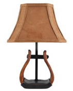 Set of 2 Country Western Cowboy Stirrup Accent Lamps with Faux Suede Shades