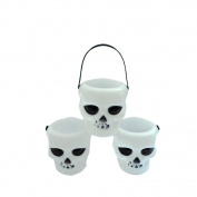 Portable Mini Black Witch's Cauldron and Skull Halloween Plastic Candy Holders Tank