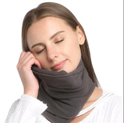 Travel Pillow - Scientifically Proven Super Soft Neck Support Pillow – Machine Washable - Very Easy Attachable to Luggage - Comfortable, Compact & Lightweight Scarf Grey Colour