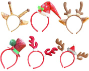 6 Pcs Christmas Decoration Reindeer Antlers Headband for Adults and Children from October Elf
