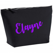 Elayne Personalised Name Cotton Canvas Black Make Up Accessory Bag Wash Bag Size 14x20cm. The perfect personalised Gift for All occasion, Christmas, Birthdays,