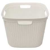 JVL Knit Design Loop Plastic Square Linen Washing Basket with Handles-41 Litres, White, 43 x 43 x 33 cm