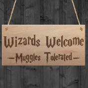 Red Ocean Wizards Welcome Muggles Tolerated Gift Hanging Plaque Magic Home Sign