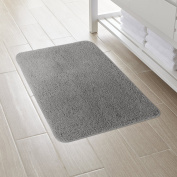 Lifewit 80cm by 50cm Non-Slip Step Out Water Absorbent Shag Bath Mat Machine Washable Basic Rug Grey