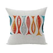 Nunubee Sofa Cotton Linen Home Square Pillow Decorative Throw Pillow Case Cushion Cover Fish 2
