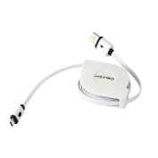 1M Micro USB to USB Retractable charger cable Data Sync Charging Cable Cord,Tuscom