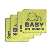 Baby on Board Car Sticker Sign 4 PCS - Universal Window Rear Bumper Vinyl Toddler Auto Decals