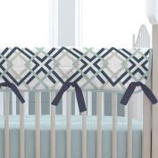 Carousel Designs Navy and Grey Geometric Crib Rail Cover