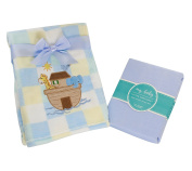 My Baby Toddler Boys Plaid Printed Noahs Ark Applique Coral Fleece Blanket with Matching Elephant Towel and Cotton Crib Sheet Set Blue
