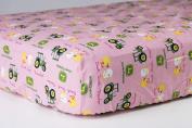 Pink John Deere Crib Sheet