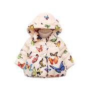 Momola Baby Girl Coat Infant Autumn Winter Hooded Butterfly Cloak Jacket Thick Warm Cotton Clothes for 6-24 Months Boys and Girls