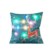 Nuohuilekeji Christmas Pillow Case LED Lighting Linen Cushion Cover Sofa Home Decor