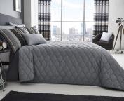 Ashcroft Stripe Bedding Range Grey Bedspread