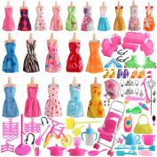 SOTOGO 125 Pcs Barbie Doll Clothes Set Include 20 Pack Barbie Clothes Party Grown Outfits(Colour Random) and 105 Pcs Different Barbie Doll Accessories for Little Girl