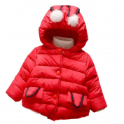 Kintaz Baby Toddler Girls Autumn Winter Hooded Coat Cute Puffer Rabbit Cloak Jacket Thick Warm Clothes
