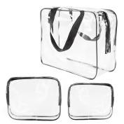 3Pcs Crystal Clear PVC Travel Bag Kit for Men Women, Waterproof Vinyl Packing Organiser Storage Bag with Zipper Closure and Handle Straps, Cosmetic Pouch, Nappy Bag, Handbag Pencil Bag Black