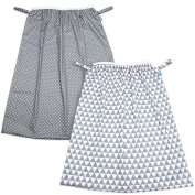 Teamoy (2 Pack) Reusable Pail Liner for Cloth Nappy/Dirty Nappies Wet Bag, Grey Triangle+Grey Dots