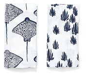 Lewis 2-Piece Organic Cotton Muslin Burp Cloths Seaweed and Stingray Prints 100% GOTS Certified Organic Cotton Muslin, Denim