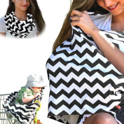 Wave Striped Softest Cotton Lactation Scarf, Multi-use Baby Car Seat Cover, Breastfeeding Privacy Nursing Covers