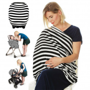 Black And White Striped Softest Cotton Lactation Scarf, Multi-use Baby Car Seat Cover, Breastfeeding Privacy Nursing Covers