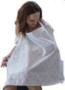 Premium Nursing Cover with Great CACTUS fashion Style, 100% Cotton, Breathes Nicely for Baby & Mother for Comfortable Breastfeeding. Includes Neck Strap & FREE Matching Travel Bag. AZO Free