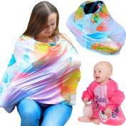 LittleComfy 5-in-1 Maternity Nursing Cover – Breastfeeding Cover Up is Breathable, Extra Stretchy, Super Soft + Bib + eBook