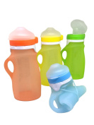 Kids Reusable Squeeze Pouch – Portable and Collapsible Medical Grade Silicone Bottle for Food and Drinks - Great For Travel – 270mls by Wyatt Carter Baby