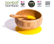 bamboo bamboo Easy Feed Baby Suction Bowl And Spoon Set, Stay Put Feeding Bowl, Natural Bamboo