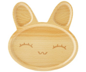 BabyBoo Organic, Baby Kids Feeding Rabbit Wooden Divided Plate, Great Gift, BPA Free
