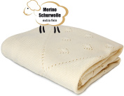 Sonnenstrick Baby Blanket 100% Organic Extra Fine Merino Wool (90cm x 80cm ). Made in Germany.