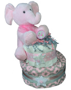 Nappy Cakes for Baby Showers Girl - Grey and Pink Elephant Centrepiece by Sunshine Gift Baskets