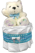 Nappy Cakes for Baby Showers Boy - Teddy Bear Centrepiece by Sunshine Gift Baskets
