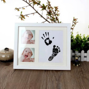 Hiltow Baby Handprint & Footprint Frame Keepsake Kit for Baby,Newborn,Infants, Non Toxic INK, 4 x 6 Photo Window, Premium Wood Frame, Decor for Room Wall,Perfect for Baby Boy Gifts!