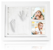 CareTreasure Baby Handprint Footprint Picture Frame Kit - Non Toxic Clay Perfect Girl Boy Gifts - MDF Wood PMMA Glass Keepsake Makes It a Great Baby Shower Gift - Room Wall Bed Decor Family Frames