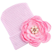 Prettyia 1pc Newborn Baby 0-3 Months Cotton Photography Big Flower Hat Hospital Cap - A, as described
