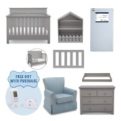 Serta Fall River 7-Piece Nursery Furniture Set with FREE Baby Monitor (ships separately) (Convertible Crib, Toddler Rail, 4-Drawer Dresser, Changing Top, Bookcase, Crib Mattress, Glider), Grey