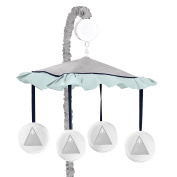Navy Blue, Aqua and Grey Aztec Musical Baby Crib Mobile for Mountains Collection by Sweet Jojo Designs