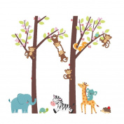 Wall Stickers, BCDshop Cute Jungle Forest Animal Tree Kids Baby Nursery Wall Murals Home Bedroom Living Room Stickers Window Furniture Decal Decor Art Removable