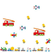 Ikeelife Home Decor Mural Vinyl Wall Sticker Vehicles Truck Aeroplane Duck Car Kids Nursery Room Wall Art Decal Paper