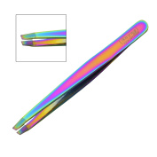 TITANIUM EYEBROW TWEEZERS HAIR BEAUTY SLANTED STAINLESS STEEL TWEEZER TOOL