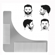 Cisixin Beard Styling Shaping Template Comb Stainless Steel Beard Care Comb for Neck Line, Cheek Line, Jaw Line and Goatee