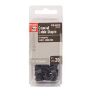 Bulldog Coaxial Cable Staples, Black, 20pc