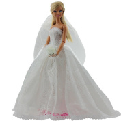 Wedding Dress for Barbie Doll Princess Evening Party Dress With Veil