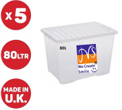 JMS® 5 x 80 LITRE PLASTIC STORAGE BOX - X LARGE -STRONG CONTAINER -CLEAR LID - CHEAP
